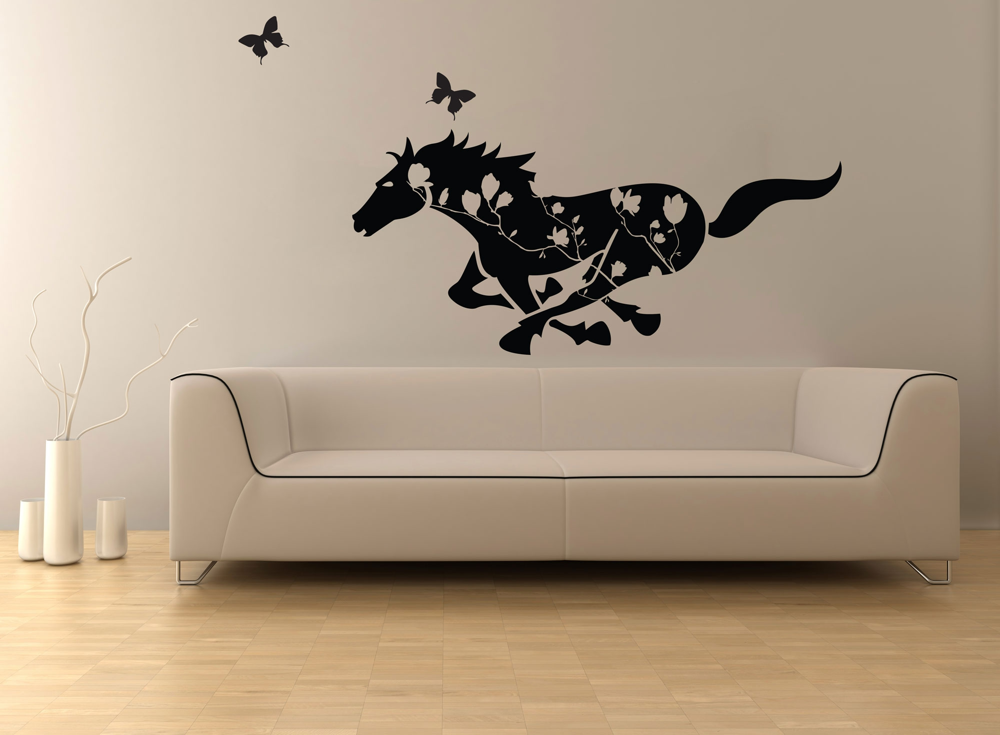 Circuit Board Tree Vinyl Wall Art Graphic Stickers Decals Galloping Horse In Blooms Removable Feature Decal Sticker Ozdeco T S Polonaiz