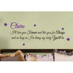 CUSTOM I'LL LOVE YOU FOREVER LIKE YOU FOR ALWAYS MY BABY YOU'LL BE WALL DECAL VINYL STICKER