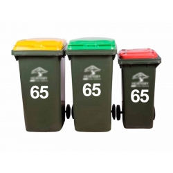 3 X WHEELIE BIN CUSTOM STICKER HOUSE NUMBER IDENTIFICATION DECAL SET