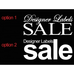 DESIGNER LABELS SALE RETAIL SHOP WALL WINDOW SIGN VINYL STICKER DECAL