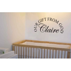CUSTOM NAME OUR GIFT FROM GOD NURSERY WALL VINYL SIGN DECAL STICKER