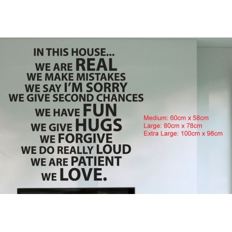 In This House We Are Real Do Love Quote Wall Sign Vinyl