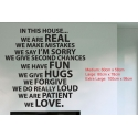 IN THIS HOUSE WE ARE REAL DO LOVE QUOTE WALL SIGN VINYL DECAL LETTERING STICKER