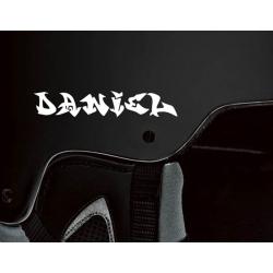 2 X GRAFFITI CUSTOM NAME DECAL BIKE BICYCLE MOTORCYCLE SNOWBOARDING HELMET STICKERS