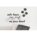 CATS LEAVE PAW PRINTS ON YOUR HEART - REMOVABLE ART WALL DECAL VINYL STICKER