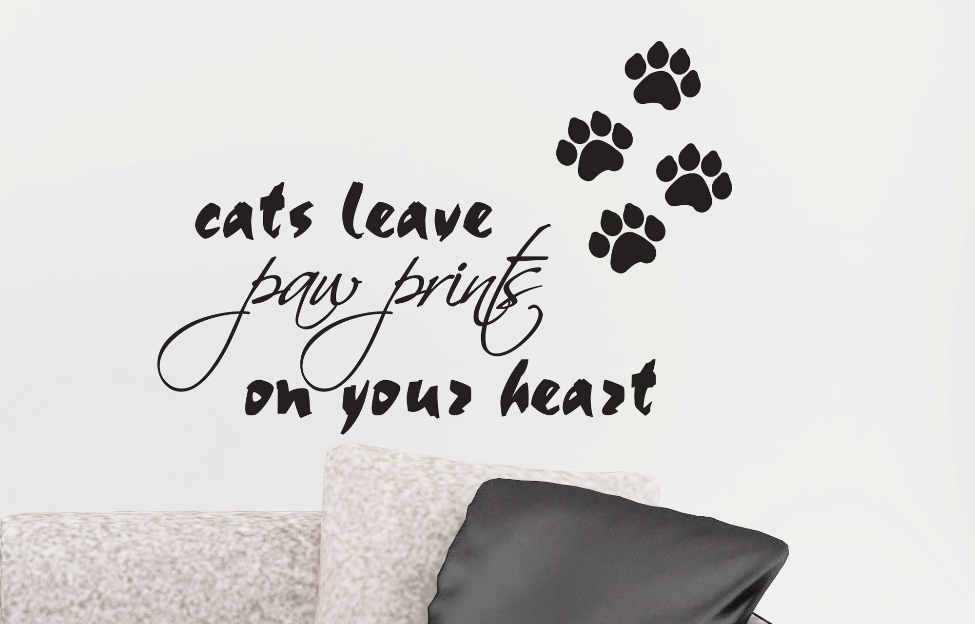 Cats Leave Paw Prints On Your Heart Removable Art Wall Decal Vinyl Circuit Board Tree Graphic Stickers Decals Sticker Ozdeco T S Polonaiz
