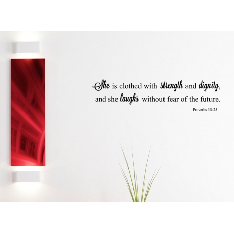 SHE IS CLOTHED WITH STRENGTH BIBLE QUOTE NURSERY WALL SIGN VINYL DECAL REMOVABLE
