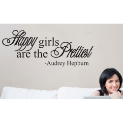 HAPPY GIRLS ARE THE PRETTIEST AUDREY HEPBURN WALL VINYL DECAL
