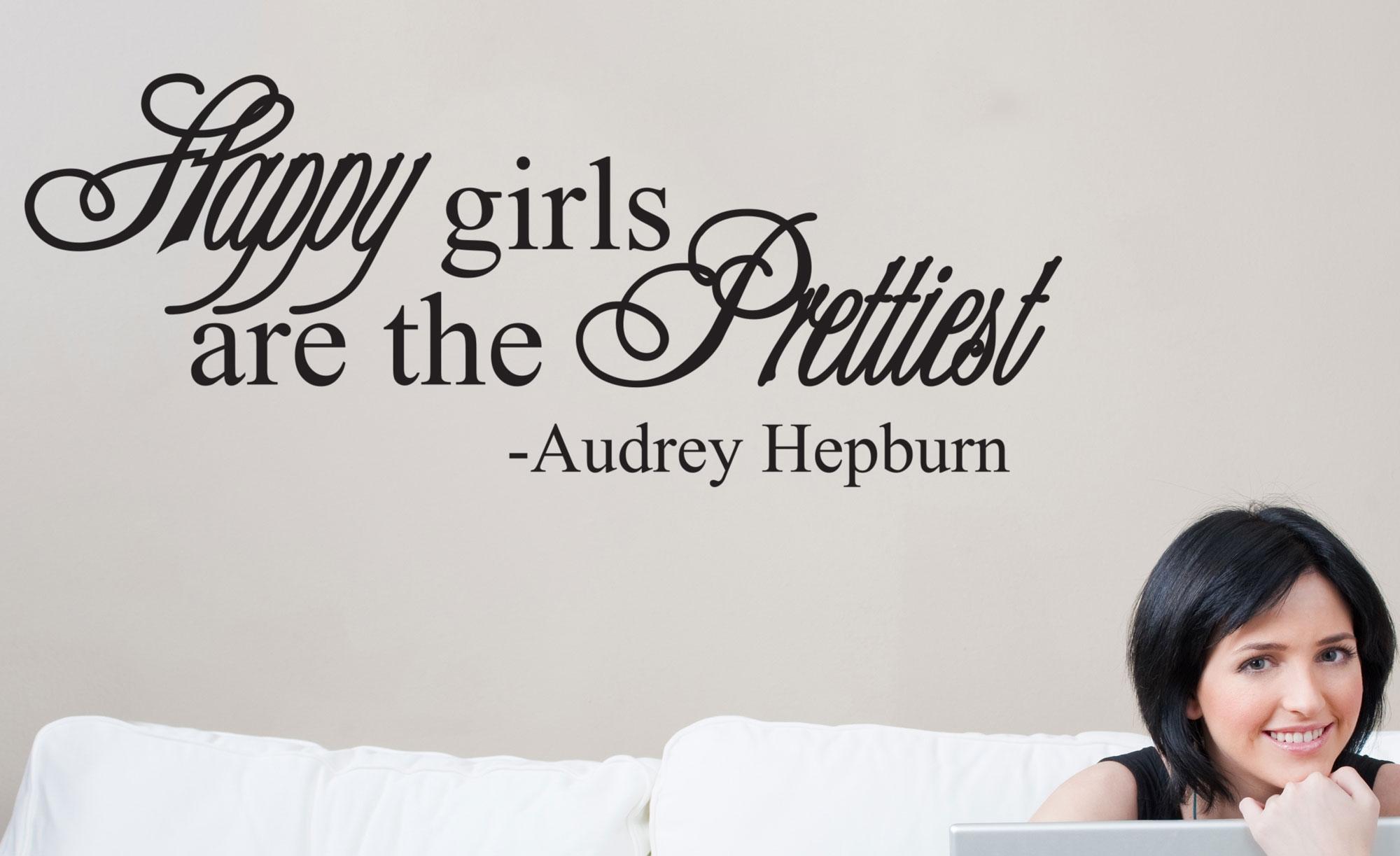 Happy Girls Are The Prettiest Audrey Hepburn Wall Vinyl Decal