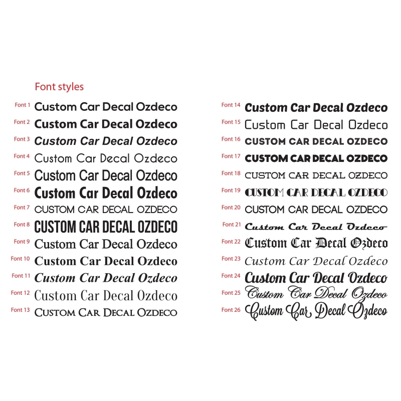 Custom car advert ad personalised vinyl decal lettering bumper sticker