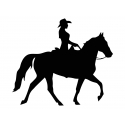 Cowgirl On horse Vinyl Decal for Car, Window bumper Tattoo Sticker