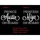 PRINCESS PRINCE ON BOARD SIGN CAR DECAL VINYL STICKER
