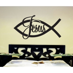 Jesus fish Cross Christian Symbol Wall Decor Vinyl Sticker Decal