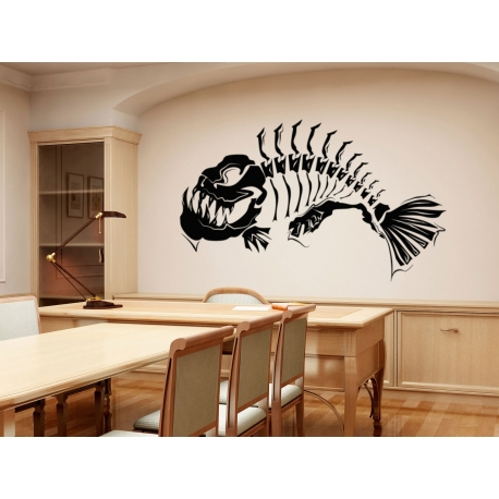 Fish skeleton modern art wall tattoo feature wall decal vinyl sticker