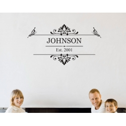 Vinage Family Name Est year Custom Personalized Vinyl Decal Sticker Wedding Removable