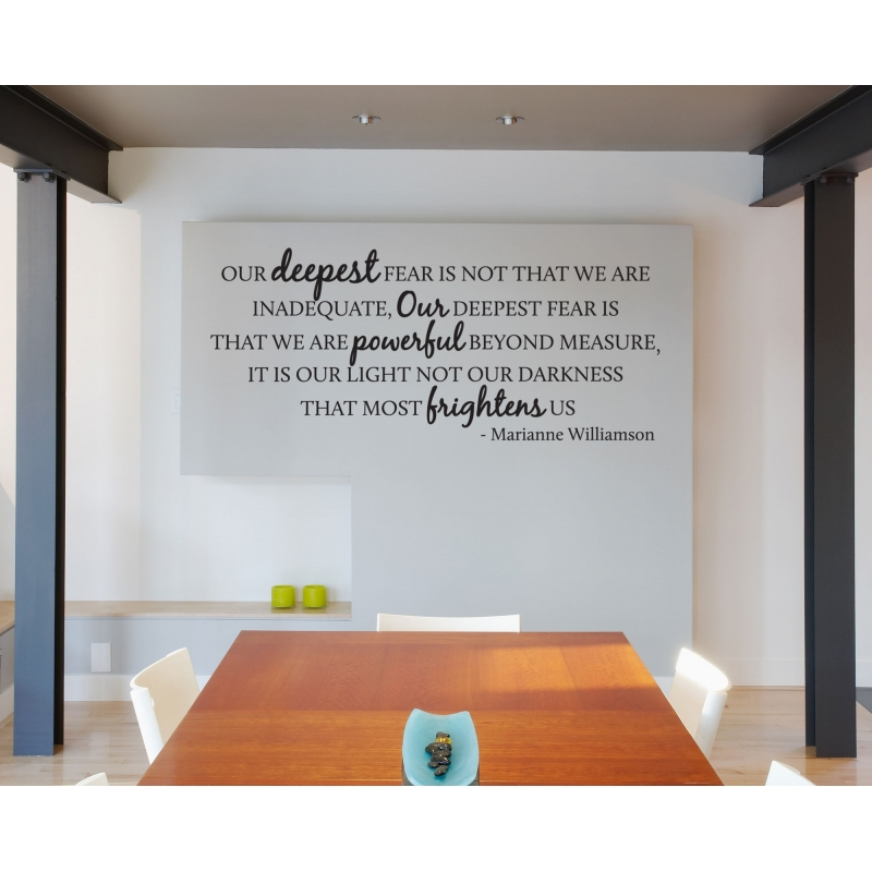 ... OUR DEEPEST FEAR IS NOT THAT WE ARE INADEQUATE INSPIRATIONAL QUOTE VINYL DECAL ...  sc 1 st  OZDECO & OUR DEEPEST FEAR IS NOT THAT WE ARE INADEQUATE INSPIRATIONAL QUOTE ...