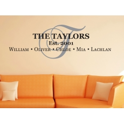 Personalized Family Initial Name sign 5 names year Wall Decal Foyer Living Room