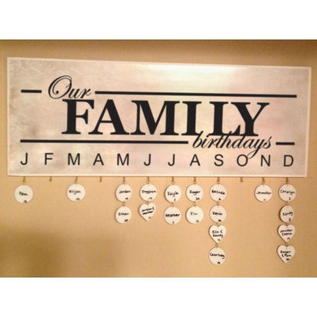 Celebrate Family Birthdays Anniversary Moments Vinyl Decal Sign with Month Gift