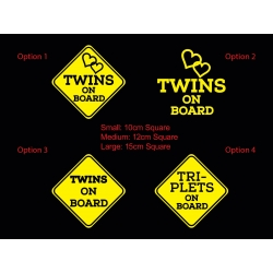 Twins Triplets on Board Baby Kids Safety Sign Car Decal Vinyl Sticker
