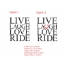 Live Laugh Love Ride horse lover Wall Quote Lettering Decor Vinyl decal sticker