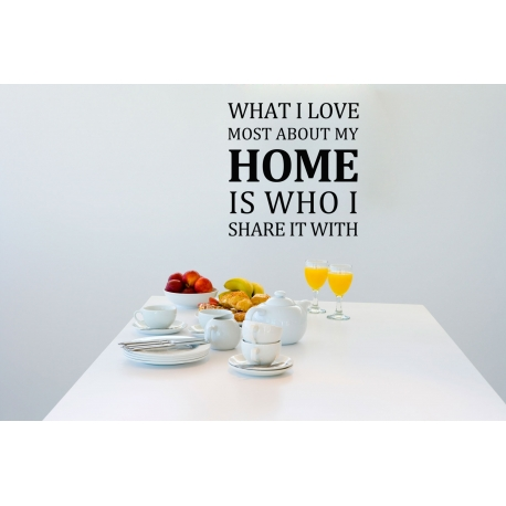 What I love most about my home Family Wall Quote Lettering decal sticker