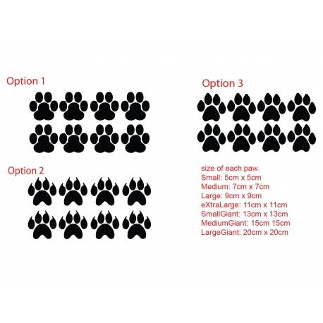PAW PRINT ANIMAL DOG FOX BEAR CAR BOAT LAPTOP TATTOO VINYL DECAL STICKER