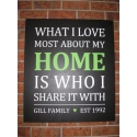 What I love most about my home Custome Family Wall Quote Lettering decal sticker