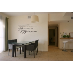 For the kingdom of God is Righteousness Peace Bible verse Wall Decal Sticker