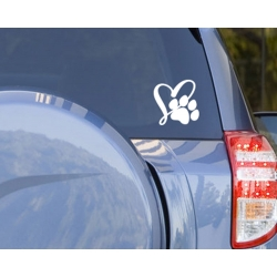 I Love Dog Cat Pet Paw Print Car Boat Bike Laptop Outdoor Decal Vinyl Sticker