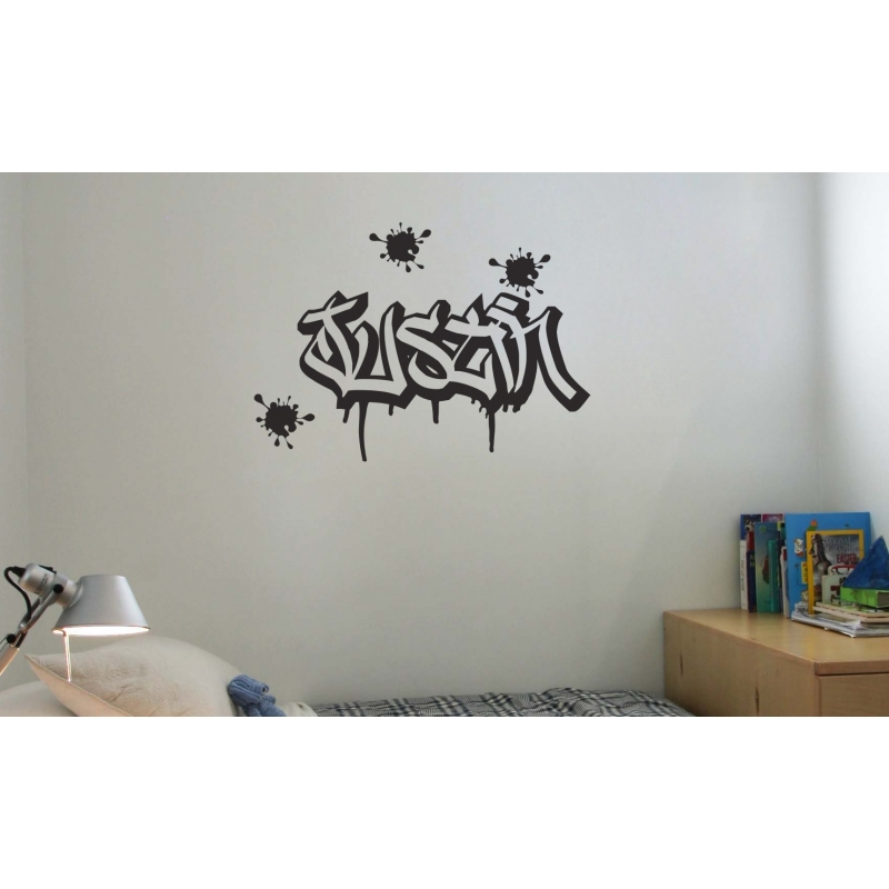 Custom Graffiti Wall Sticker W Dripping Splatter Personalised B - Custom vinyl wall decals graffiti