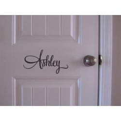 Fancy Swash Script Embellished Personalised Name Wall Door Nursery Decal Sticker
