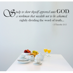 2 Timothy 2:15 Study to show thyself approved unto GOD Bible Religion Quote Vinyl Decal Sticker