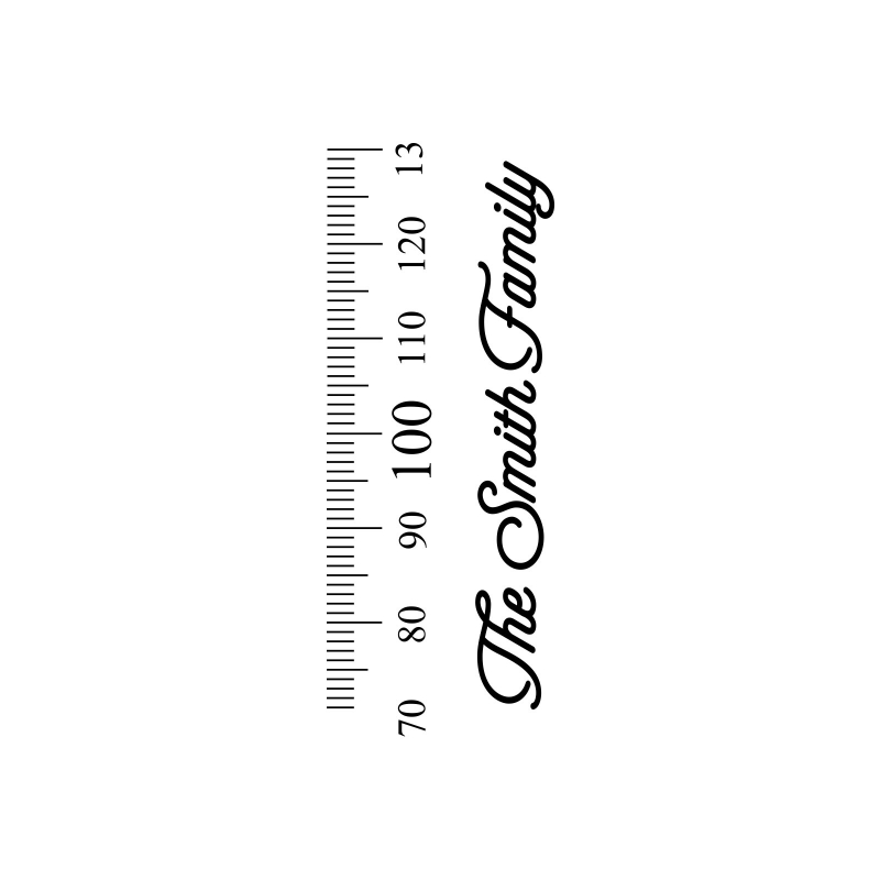 Growth chart ruler add on custom family name vinyl decal sticker for side