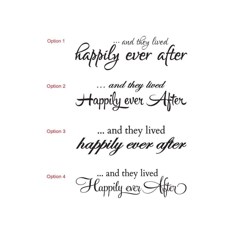 AND THEY LIVED HAPPILY EVER AFTER WEDDING WALL QUOTE SIGN VINYL DECAL STICKER