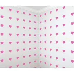 Heart Pattern Wall Art Nursery Decal Sticker Faux wallpaper Removable 20+ Colors