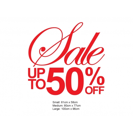SALE UP TO XX Percent OFF SHOP WALL WINDOW SIGN VINYL STICKER DECAL