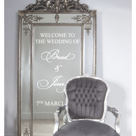Custom Personalized Wedding Welcome Sign Wall Mirror Glass Decal Sticker Removable
