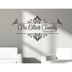 Vintage Family Name Year Custom Personalized Wall Vinyl Decal Sticker Wedding