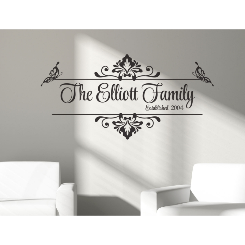 Vintage Family Name Year Custom Personalized Wall Vinyl Decal Sticker  Wedding ...