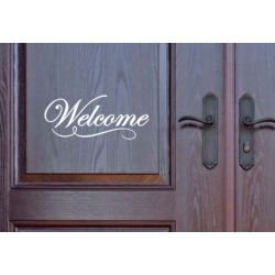 Welcome Front Door Wall Window Sign Vinyl Lettering Decal Sticker House Shop