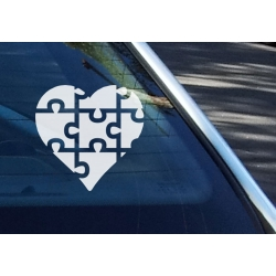 Love Autism Awareness Puzzle Pieces - Safety Sign Car Vinyl Decal Sticker
