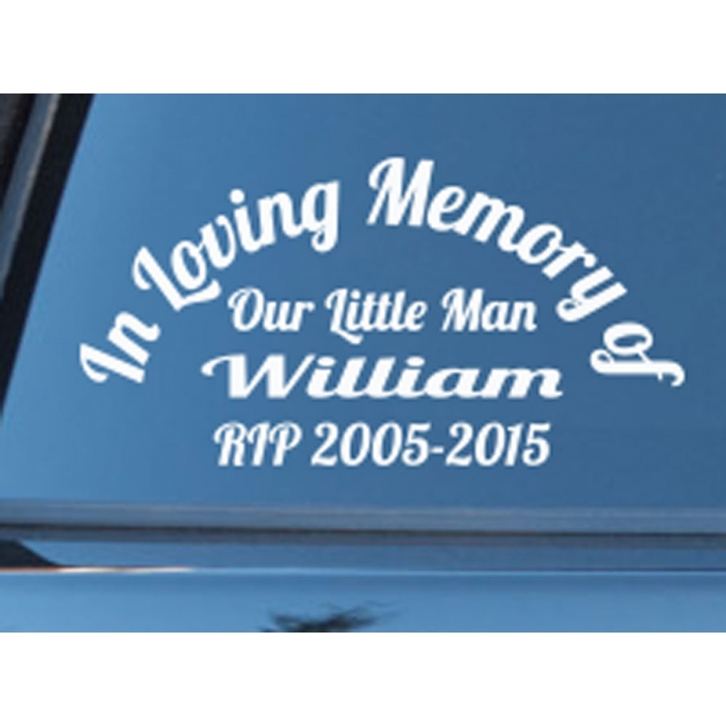 Custom name in loving memory of rip years memorial car sign vinyl decal sticker