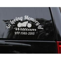 Custom Name In Loving Memory of RIP Years Biker Memorial Car Sign Vinyl Decal Sticker