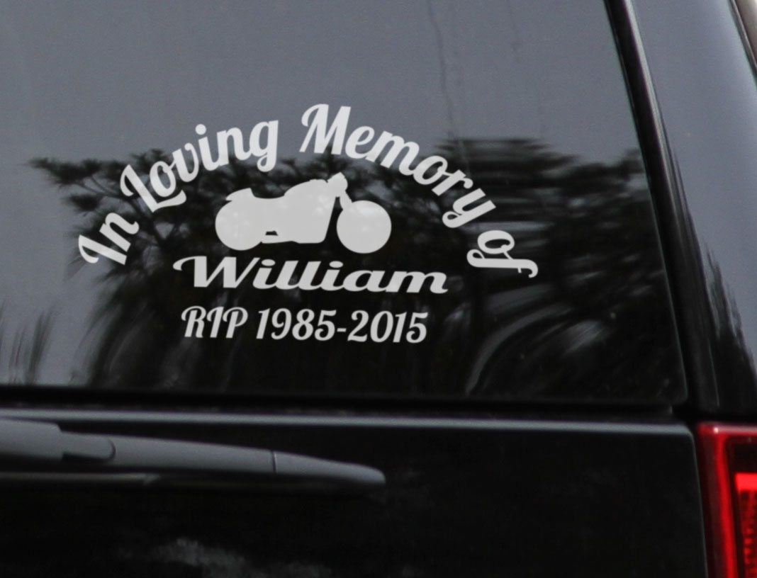 Custom name in loving memory of rip years biker memorial car sign vinyl decal sticker