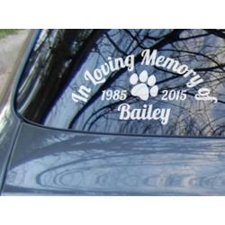 Custom Dog Cat Paw Name In Loving Memory Years Memorial Car Sign Vinyl Decal Sticker