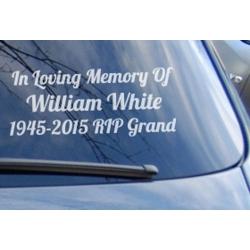 Custom Name In Loving Memory Years RIP Memorial Car Sign Vinyl Decal Sticker