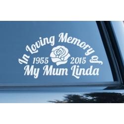 Custom Rose Dad Mum Name In Loving Memory Memorial Car Sign Vinyl Decal Sticker