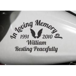 Custom Name Years Angel Wings In Loving Memory Rest Peacefully Memorial Car Bike Sign Vinyl Decal Sticker