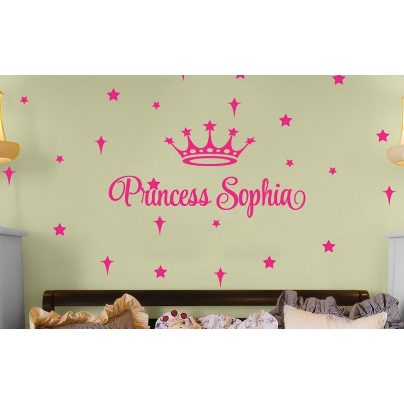 Custom name princess prince crown star personalised wall decal sticker removable