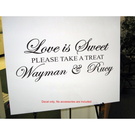 Personalized LOVE IS SWEET WEDDING LOLLY CANDY BAR SIGN WALL VINYL SIGN DECAL STICKER